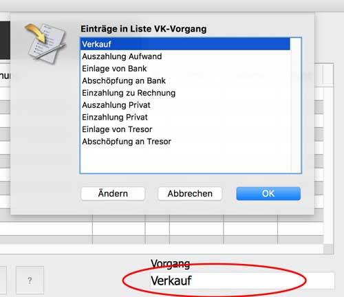 OfficeNo1 Registrierkasse Vorgang wählen