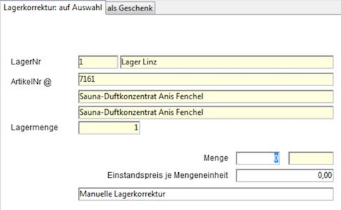 OfficeNo1 Lagerkorrektur durchführen