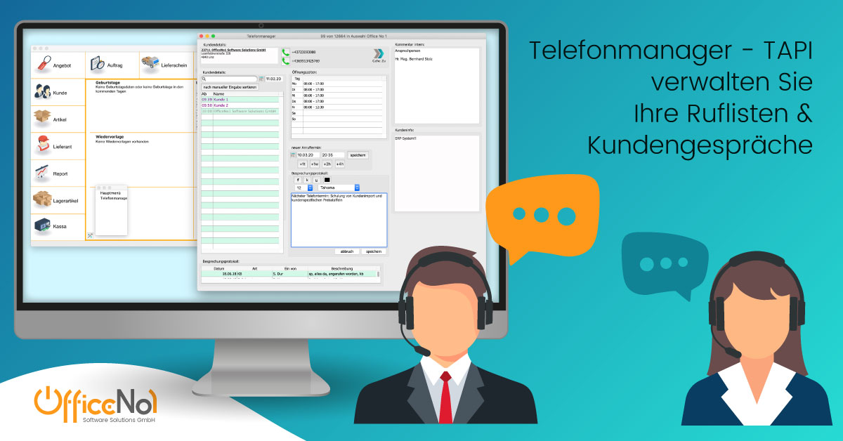 Telefonmanager mit TAPI OfficeNo1 Software Solution